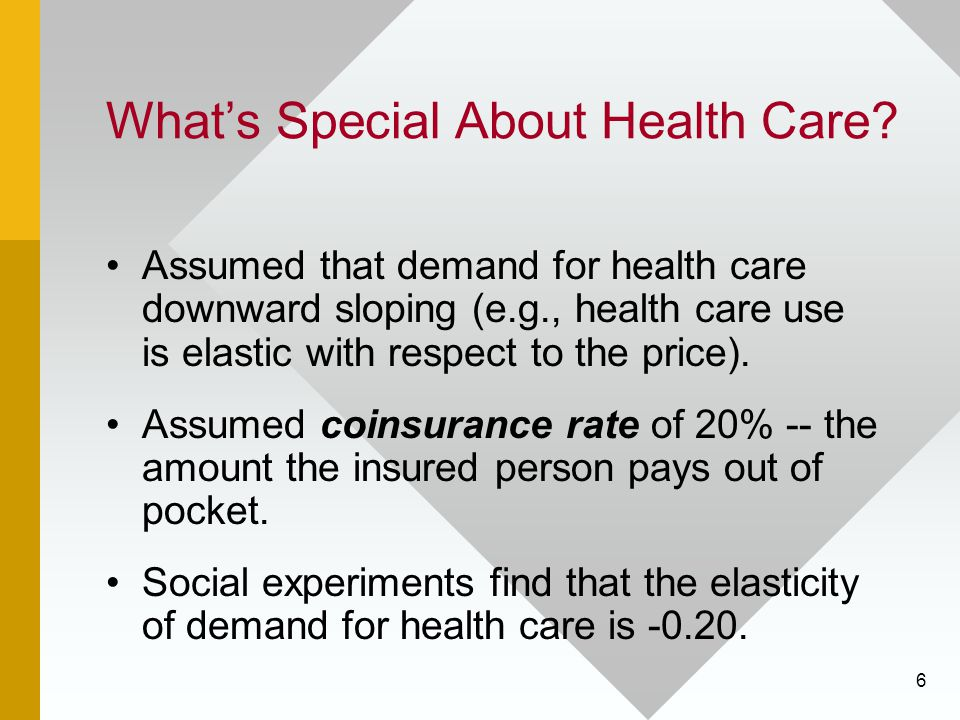 6 What's Special About Health Care? Assumed that demand for health care downward sloping (e.g., health care use is elastic with respect to the price).
