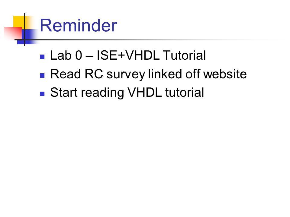 Reminder Lab 0 – ISE+VHDL Tutorial Read RC survey linked off website Start reading VHDL tutorial
