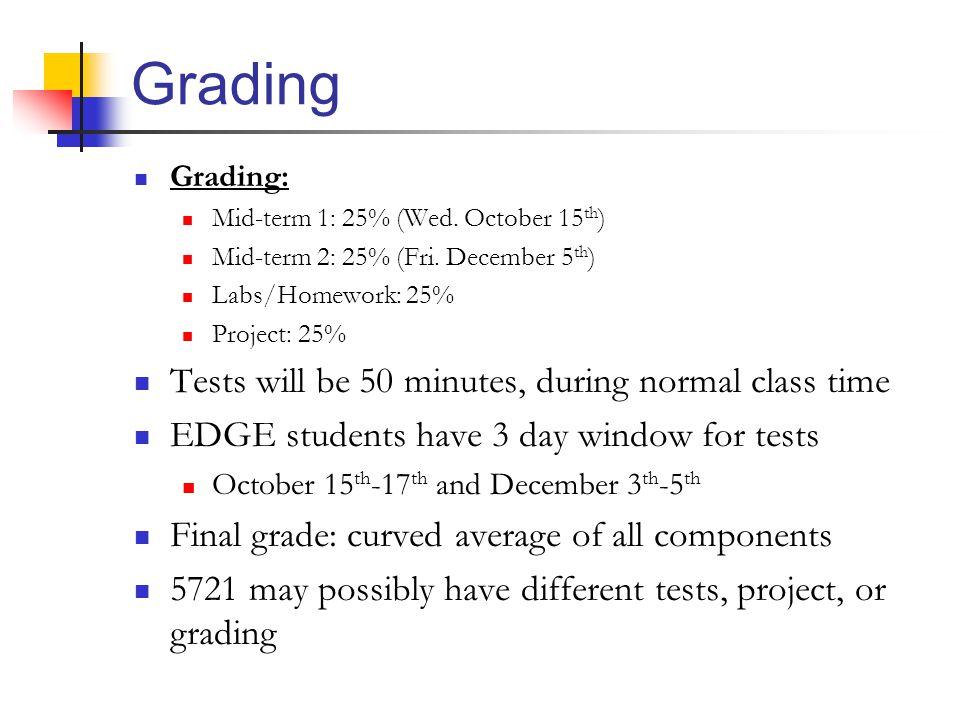 Grading Grading: Mid-term 1: 25% (Wed. October 15 th ) Mid-term 2: 25% (Fri.