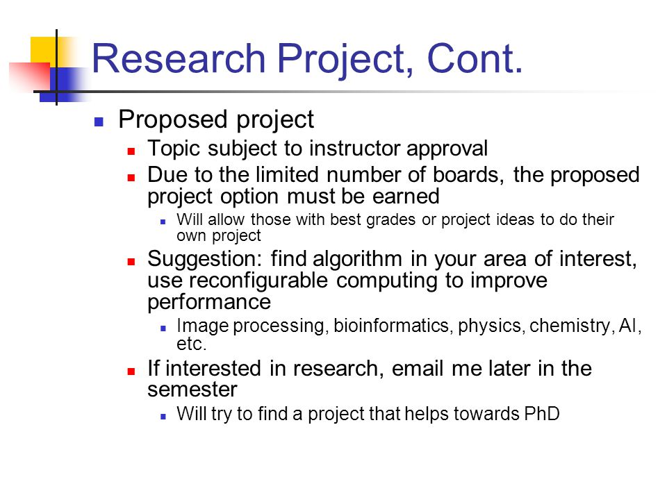 Research Project, Cont.