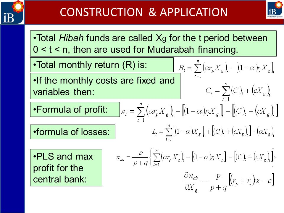 Total Hibah funds are called X g for the t period between 0 < t < n, then are used for Mudarabah financing.