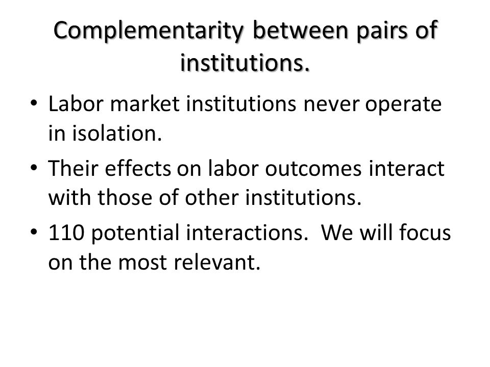 Complementarity between pairs of institutions.