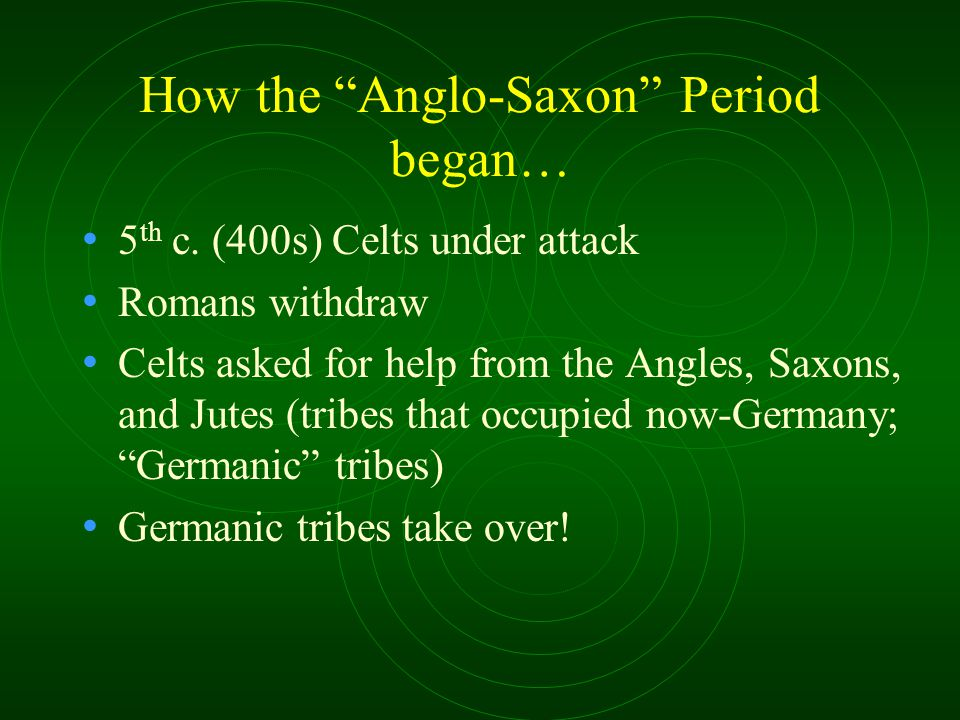 How the Anglo-Saxon Period began… 5 th c.