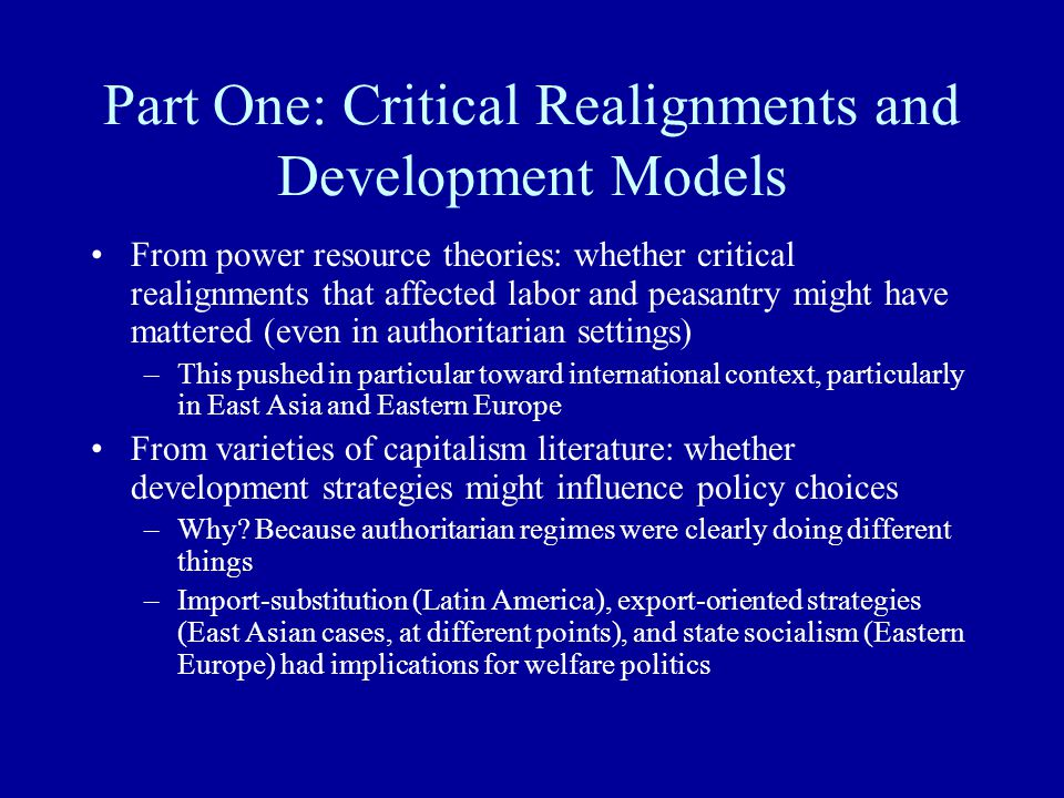 Part One: Critical Realignments and Development Models From power resource theories: whether critical realignments that affected labor and peasantry m