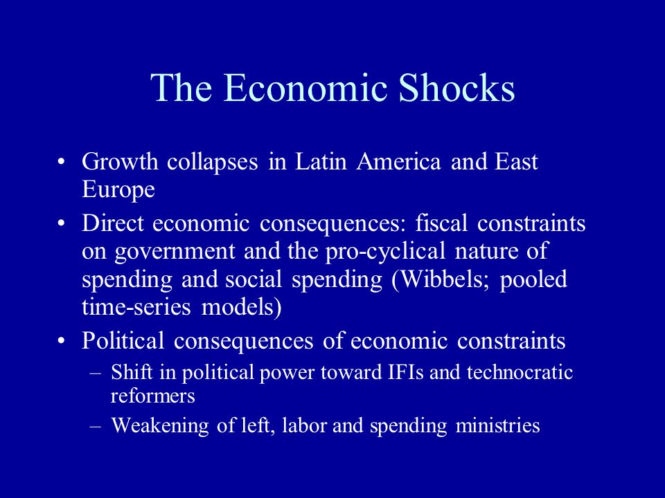 The Economic Shocks Growth collapses in Latin America and East Europe Direct economic consequences: fiscal constraints on government and the pro-cyclical nature of spending and social spending (Wibbels; pooled time-series models) Political consequences of economic constraints –Shift in political power toward IFIs and technocratic reformers –Weakening of left, labor and spending ministries