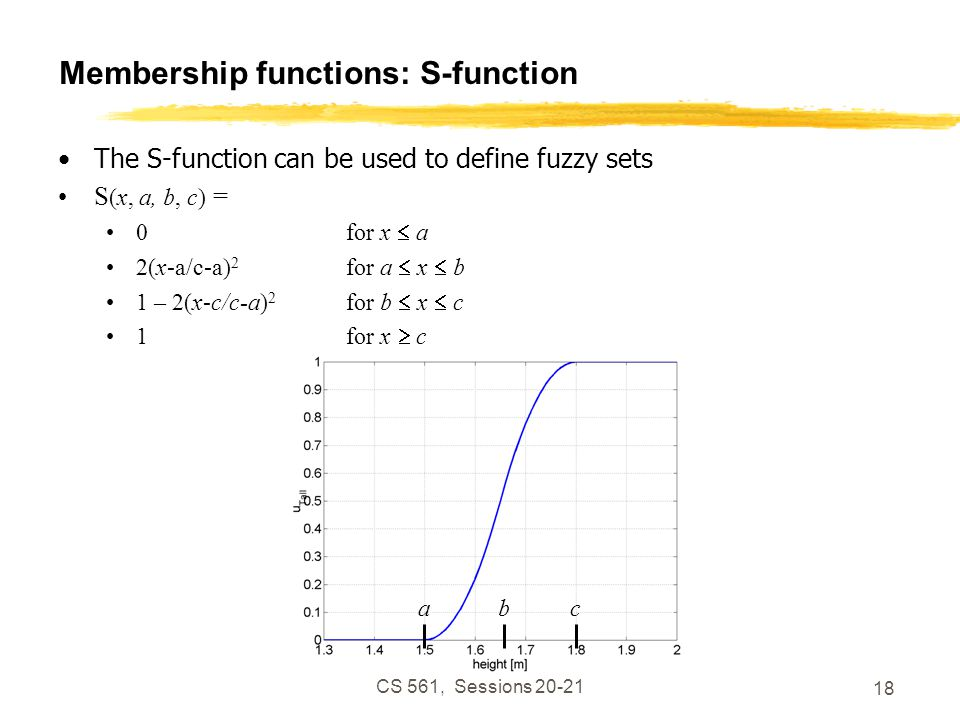 CS 561, Sessions 20-21 18 Membership functions: S-function The S-function can be used to define fuzzy sets S (x, a, b, c) = 0for x  a 2(x-a/c-a) 2 for a  x  b 1 – 2(x-c/c-a) 2 for b  x  c 1for x  c abc