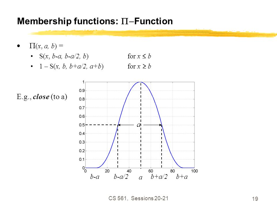 CS 561, Sessions 20-21 19 Membership functions:  Function  (x, a, b) = S(x, b-a, b-a/2, b)for x  b 1 – S(x, b, b+a/2, a+b)for x  b E.g., close (to a) b-ab+a/2b-a/2b+a a a