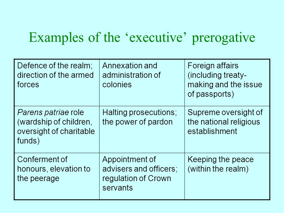 Examples of the 'executive' prerogative Defence of the realm; direction of the armed forces Annexation and administration of colonies Foreign affairs