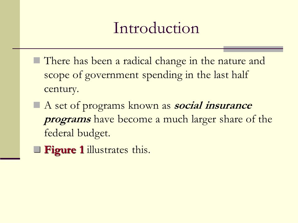 Introduction There has been a radical change in the nature and scope of government spending in the last half century. A set of programs known as socia