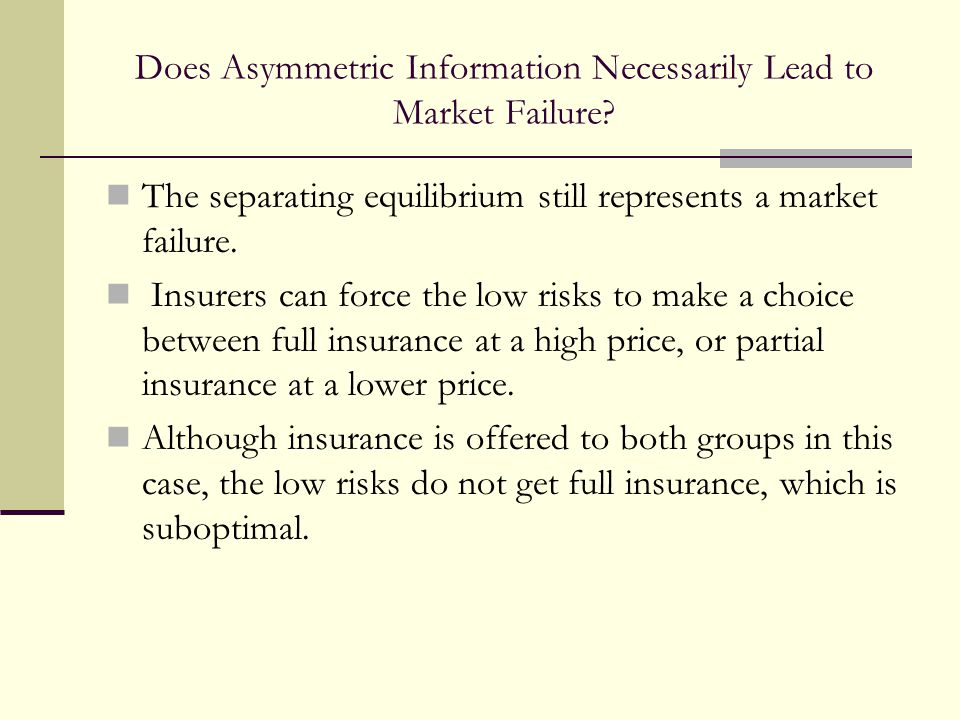 Does Asymmetric Information Necessarily Lead to Market Failure.