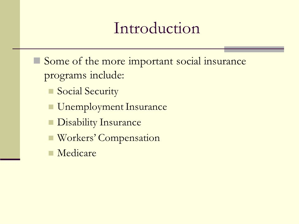 Introduction Some of the more important social insurance programs include: Social Security Unemployment Insurance Disability Insurance Workers' Compensation Medicare