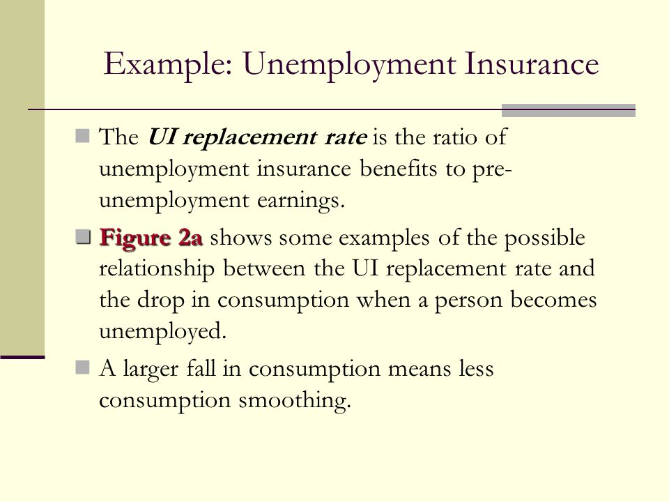 Example: Unemployment Insurance The UI replacement rate is the ratio of unemployment insurance benefits to pre- unemployment earnings. Figure 2a Figur