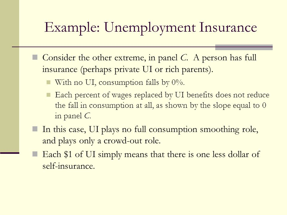 Example: Unemployment Insurance Consider the other extreme, in panel C. A person has full insurance (perhaps private UI or rich parents). With no UI,