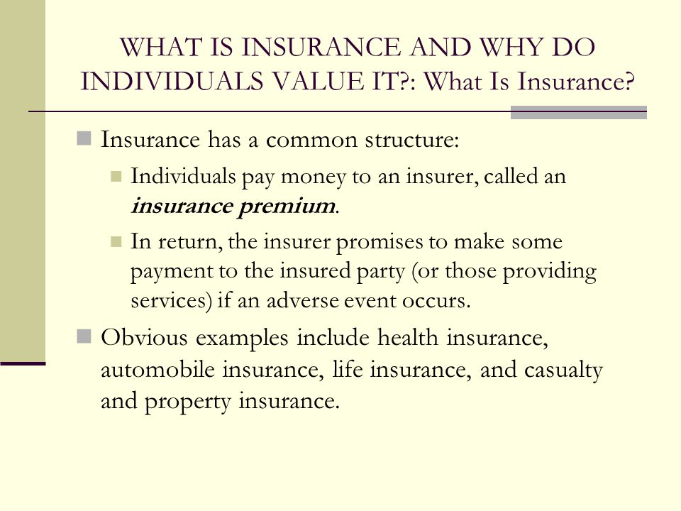 WHAT IS INSURANCE AND WHY DO INDIVIDUALS VALUE IT?: What Is Insurance.