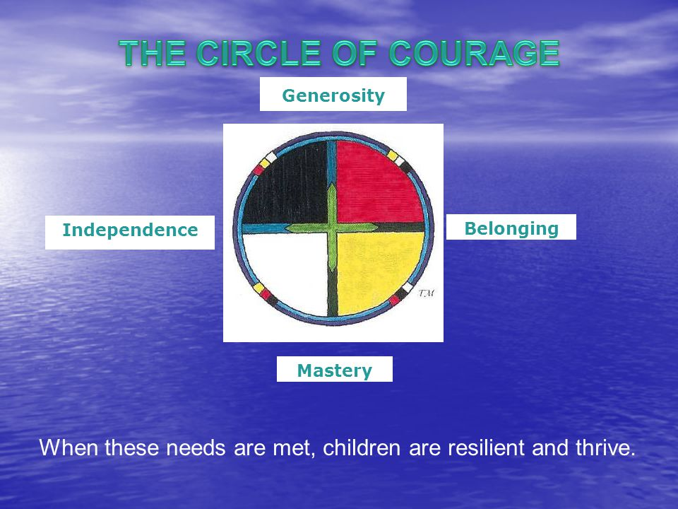 Generosity Belonging Mastery Independence When these needs are met, children are resilient and thrive.