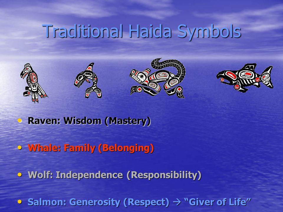 Traditional Haida Symbols Raven: Wisdom (Mastery) Raven: Wisdom (Mastery) Whale: Family (Belonging) Whale: Family (Belonging) Wolf: Independence (Responsibility) Wolf: Independence (Responsibility) Salmon: Generosity (Respect)  Giver of Life Salmon: Generosity (Respect)  Giver of Life