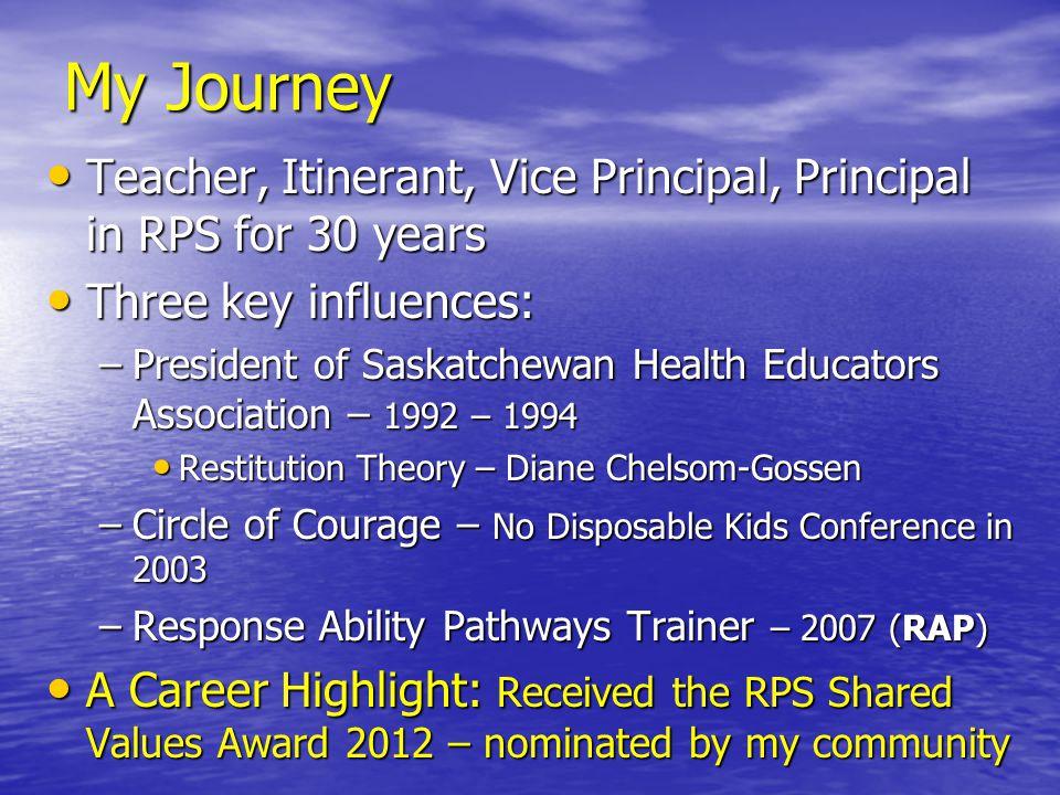 My Journey Teacher, Itinerant, Vice Principal, Principal in RPS for 30 years Teacher, Itinerant, Vice Principal, Principal in RPS for 30 years Three k