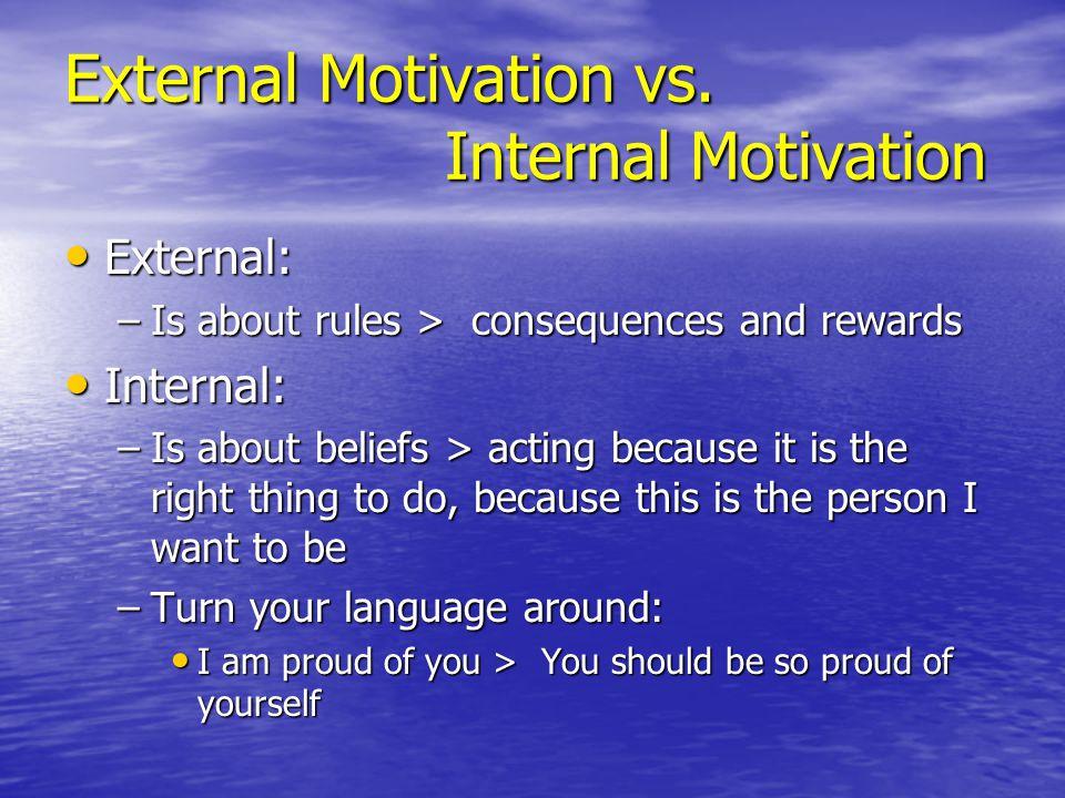 External Motivation vs. Internal Motivation External: External: –Is about rules > consequences and rewards Internal: Internal: –Is about beliefs > act