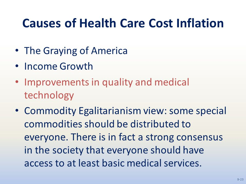 Causes of Health Care Cost Inflation The Graying of America Income Growth Improvements in quality and medical technology Commodity Egalitarianism view