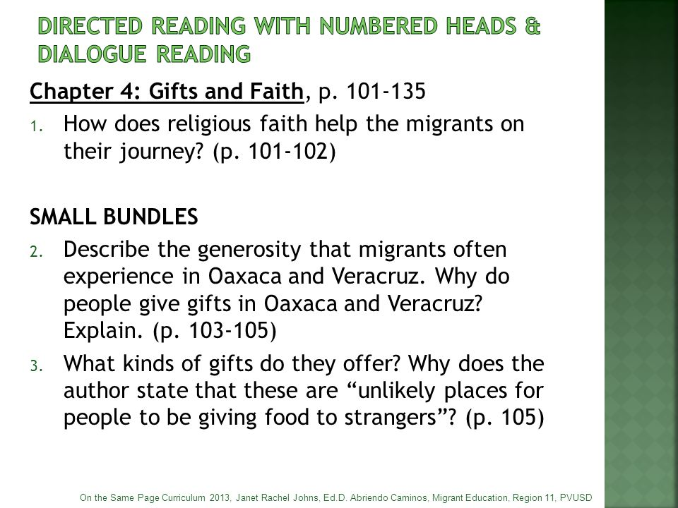 Chapter 4: Gifts and Faith, p. 101-135 1. How does religious faith help the migrants on their journey? (p. 101-102) SMALL BUNDLES 2. Describe the gene