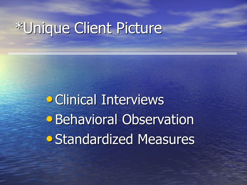 *Unique Client Picture Clinical Interviews Clinical Interviews Behavioral Observation Behavioral Observation Standardized Measures Standardized Measures
