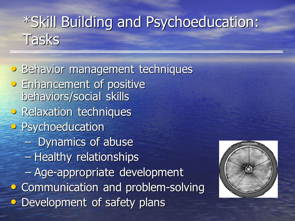 *Skill Building and Psychoeducation: Tasks Behavior management techniques Behavior management techniques Enhancement of positive behaviors/social skills Enhancement of positive behaviors/social skills Relaxation techniques Relaxation techniques Psychoeducation Psychoeducation – Dynamics of abuse –Healthy relationships –Age-appropriate development Communication and problem-solving Communication and problem-solving Development of safety plans Development of safety plans
