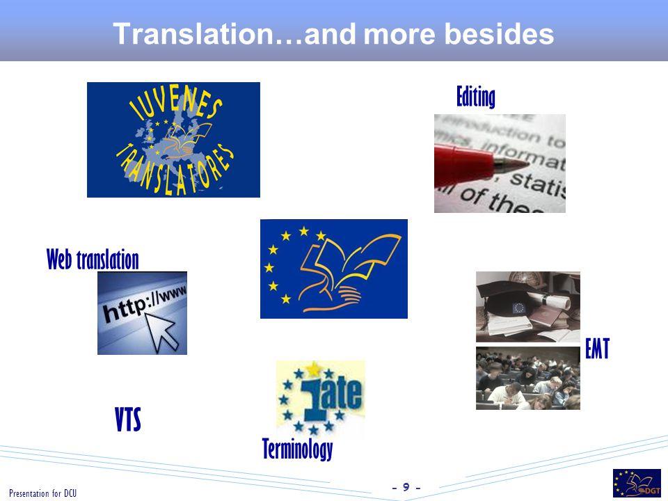 - 9 - Presentation for DCU Translation…and more besides Editing Web translation EMT VTS Terminology