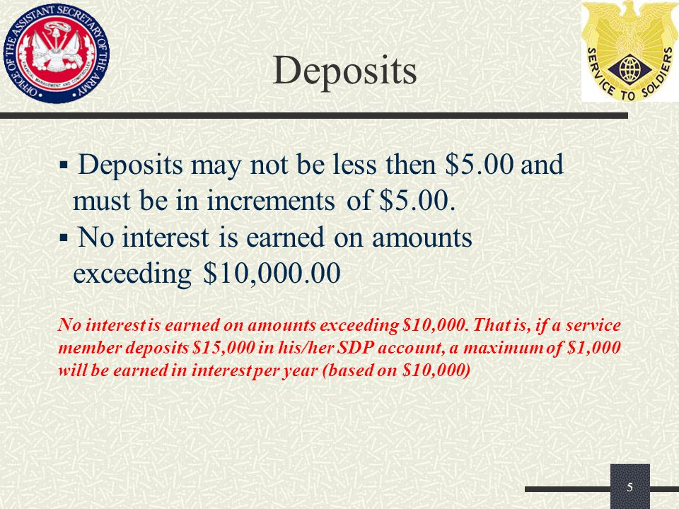 Interest  Deposits made on or before the 10th of the month accrue interest from the 1st of the month.