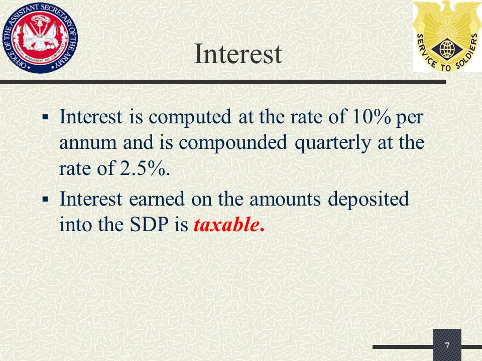 Interest  Interest is computed at the rate of 10% per annum and is compounded quarterly at the rate of 2.5%.