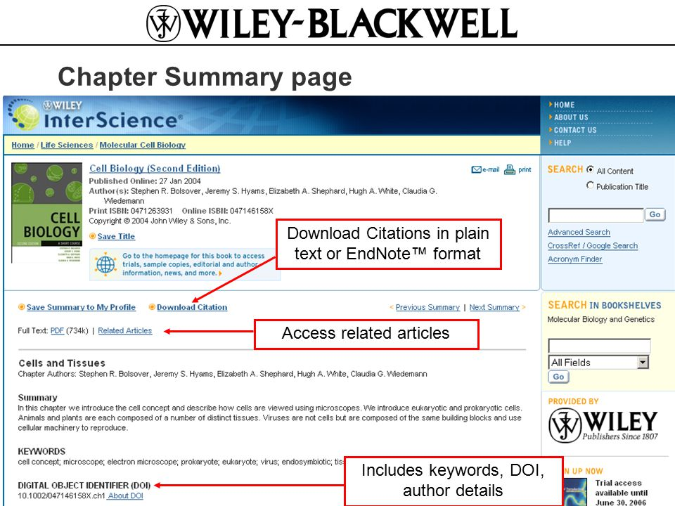 www.interscience.wiley.com www.blackwellreference.com Chapter Summary page Access related articlesDownload Citations in plain text or EndNote™ format Includes keywords, DOI, author details