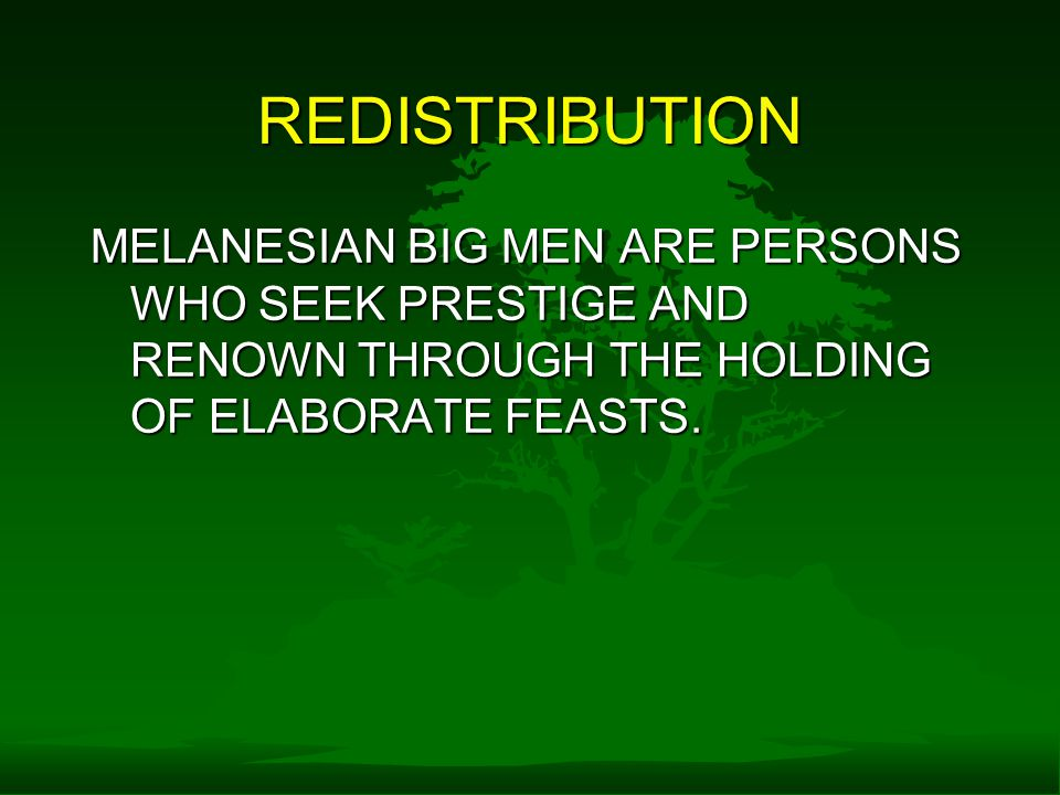 REDISTRIBUTION MELANESIAN BIG MEN ARE PERSONS WHO SEEK PRESTIGE AND RENOWN THROUGH THE HOLDING OF ELABORATE FEASTS.