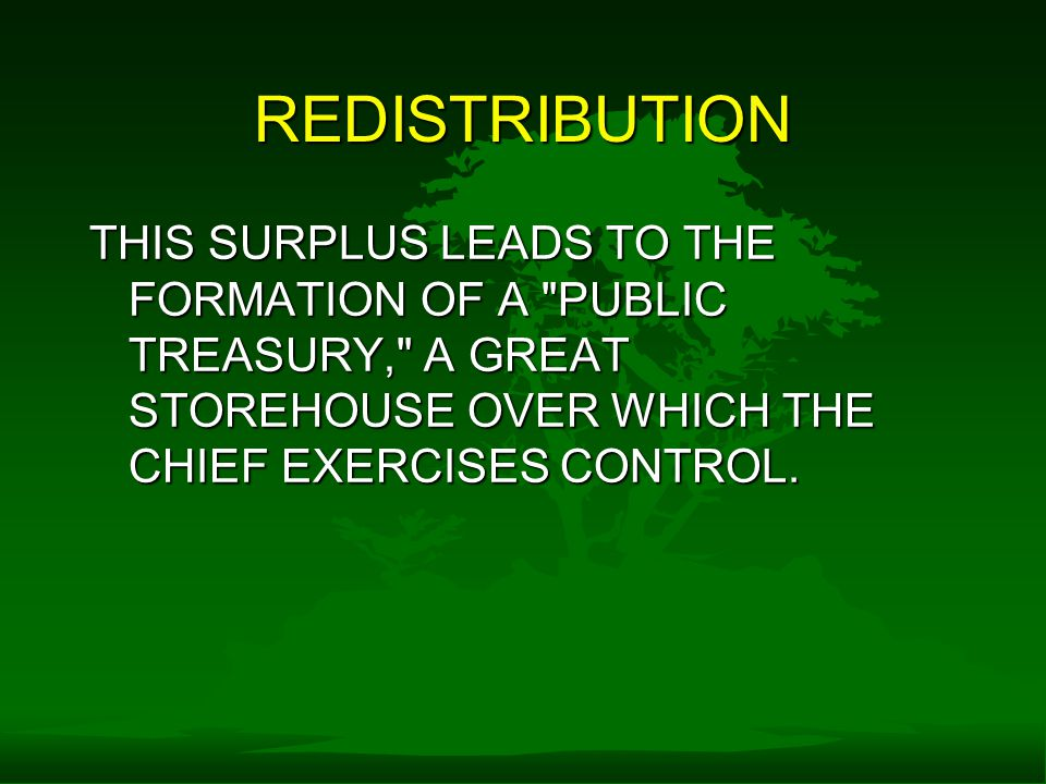 REDISTRIBUTION THIS SURPLUS LEADS TO THE FORMATION OF A PUBLIC TREASURY, A GREAT STOREHOUSE OVER WHICH THE CHIEF EXERCISES CONTROL.
