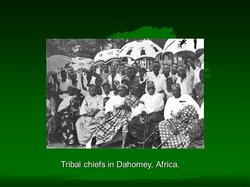 Tribal chiefs in Dahomey, Africa.