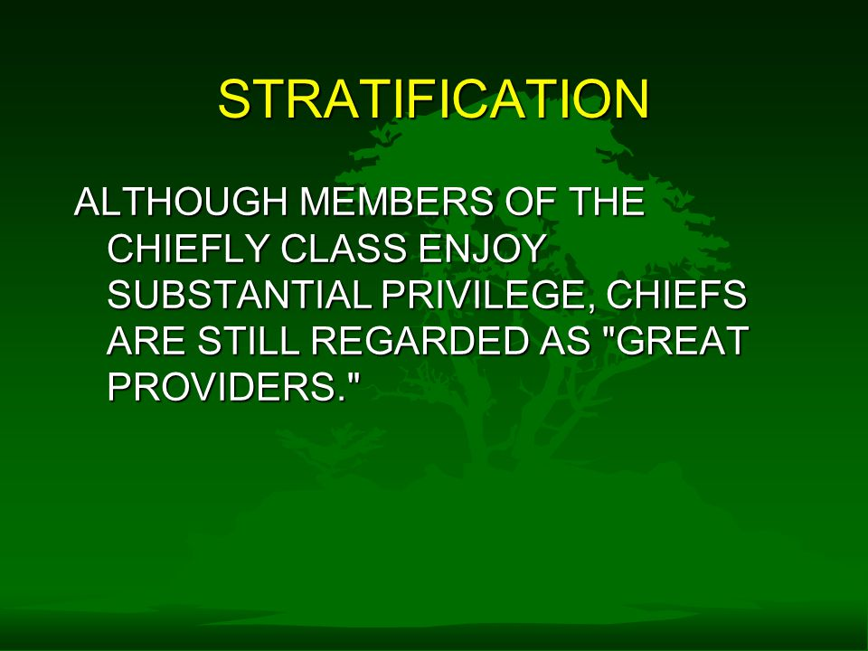 STRATIFICATION ALTHOUGH MEMBERS OF THE CHIEFLY CLASS ENJOY SUBSTANTIAL PRIVILEGE, CHIEFS ARE STILL REGARDED AS GREAT PROVIDERS.
