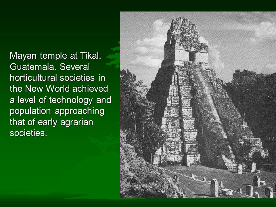 Mayan temple at Tikal, Guatemala. Several horticultural societies in the New World achieved a level of technology and population approaching that of e