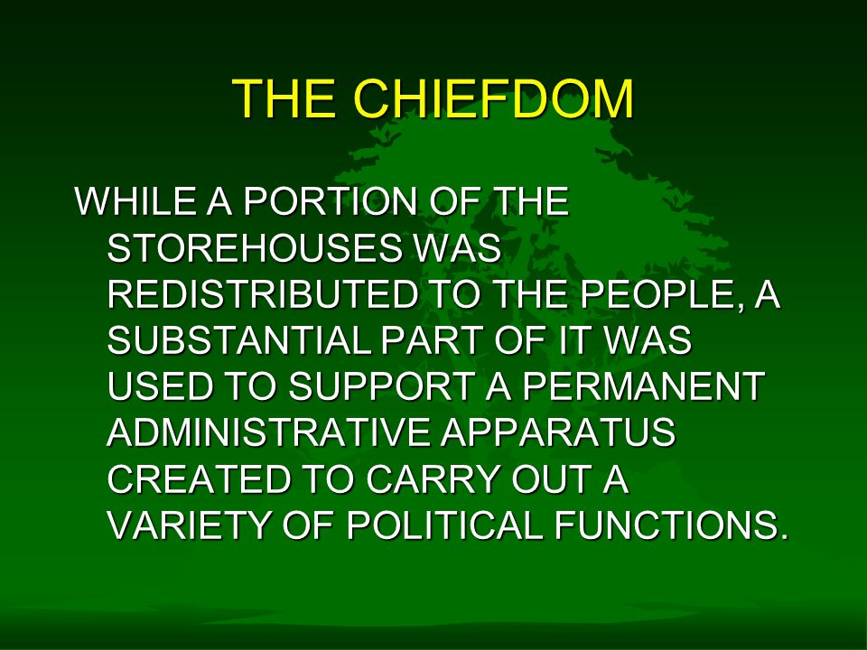 THE CHIEFDOM WHILE A PORTION OF THE STOREHOUSES WAS REDISTRIBUTED TO THE PEOPLE, A SUBSTANTIAL PART OF IT WAS USED TO SUPPORT A PERMANENT ADMINISTRATIVE APPARATUS CREATED TO CARRY OUT A VARIETY OF POLITICAL FUNCTIONS.