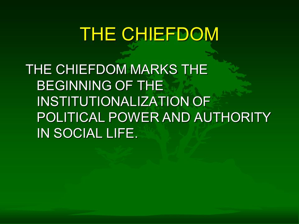 THE CHIEFDOM THE CHIEFDOM MARKS THE BEGINNING OF THE INSTITUTIONALIZATION OF POLITICAL POWER AND AUTHORITY IN SOCIAL LIFE.