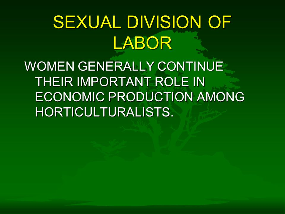 SEXUAL DIVISION OF LABOR WOMEN GENERALLY CONTINUE THEIR IMPORTANT ROLE IN ECONOMIC PRODUCTION AMONG HORTICULTURALISTS.