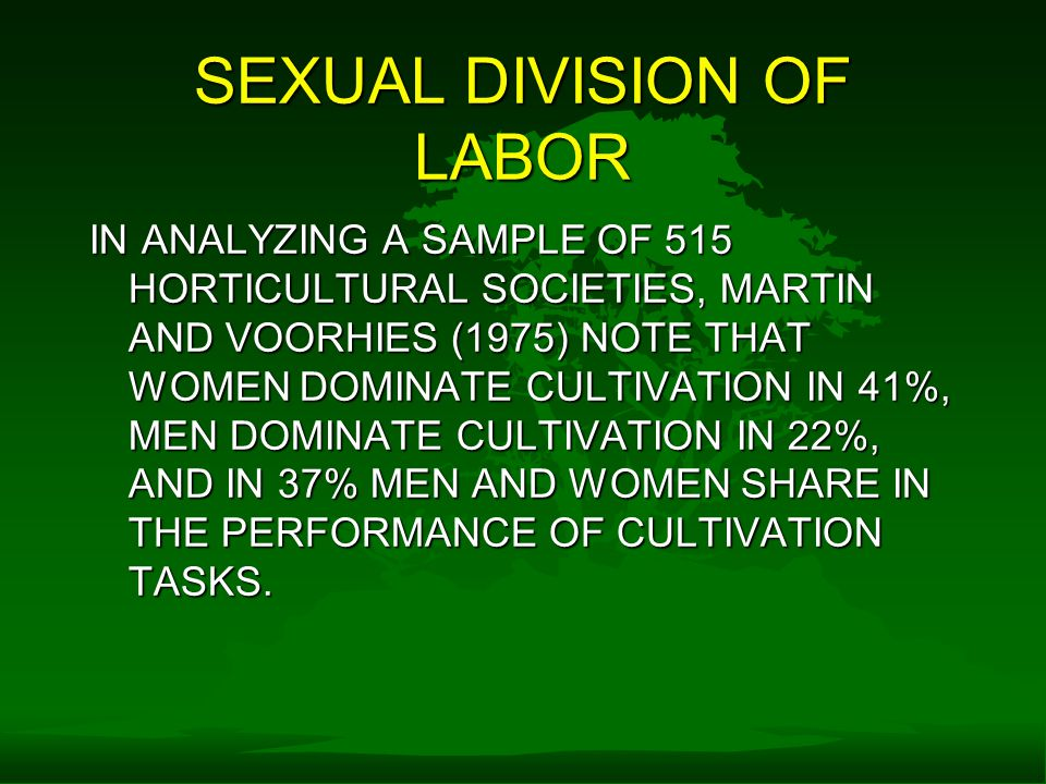 SEXUAL DIVISION OF LABOR IN ANALYZING A SAMPLE OF 515 HORTICULTURAL SOCIETIES, MARTIN AND VOORHIES (1975) NOTE THAT WOMEN DOMINATE CULTIVATION IN 41%, MEN DOMINATE CULTIVATION IN 22%, AND IN 37% MEN AND WOMEN SHARE IN THE PERFORMANCE OF CULTIVATION TASKS.