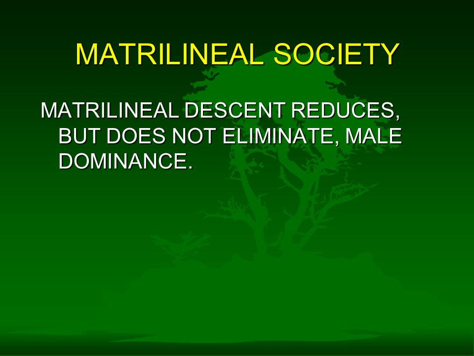 MATRILINEAL SOCIETY MATRILINEAL DESCENT REDUCES, BUT DOES NOT ELIMINATE, MALE DOMINANCE.