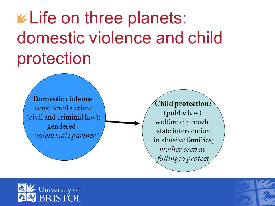 Life on three planets: domestic violence and child protection Domestic violence: considered a crime (civil and criminal law); gendered - 'violent male partner' Child protection: (public law) welfare approach; state intervention in abusive families; mother seen as failing to protect