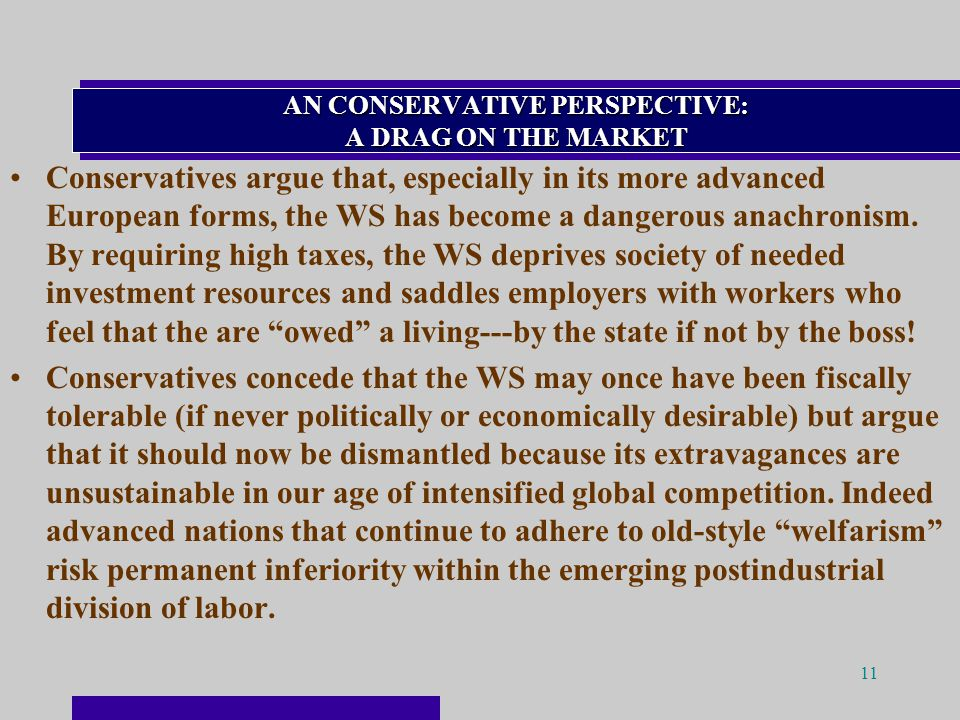 11 AN CONSERVATIVE PERSPECTIVE: A DRAG ON THE MARKET Conservatives argue that, especially in its more advanced European forms, the WS has become a dangerous anachronism.