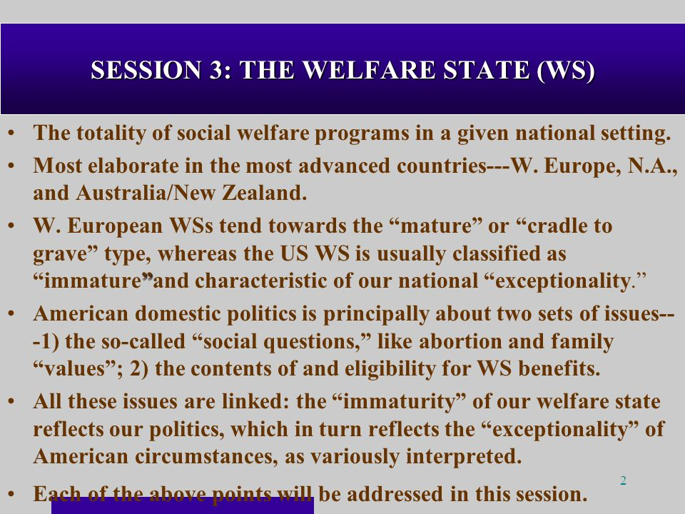 2 SESSION 3: THE WELFARE STATE (WS) The totality of social welfare programs in a given national setting.