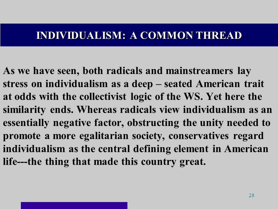 28 INDIVIDUALISM: A COMMON THREAD As we have seen, both radicals and mainstreamers lay stress on individualism as a deep – seated American trait at odds with the collectivist logic of the WS.