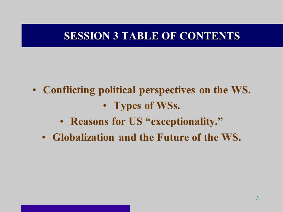 3 SESSION 3 TABLE OF CONTENTS Conflicting political perspectives on the WS.