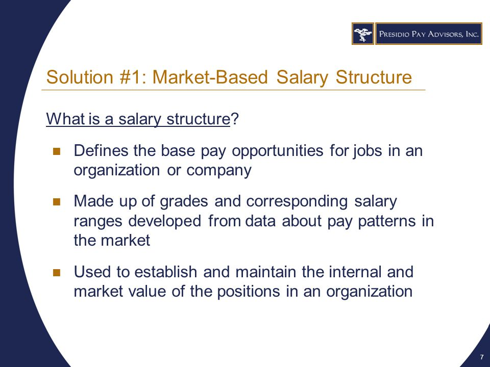 8 Solution #1: Market-Based Salary Structure Start with competitive survey data for an individual position Determine the market rate for the job, which becomes your midpoint Put a min-to-max range around midpoint