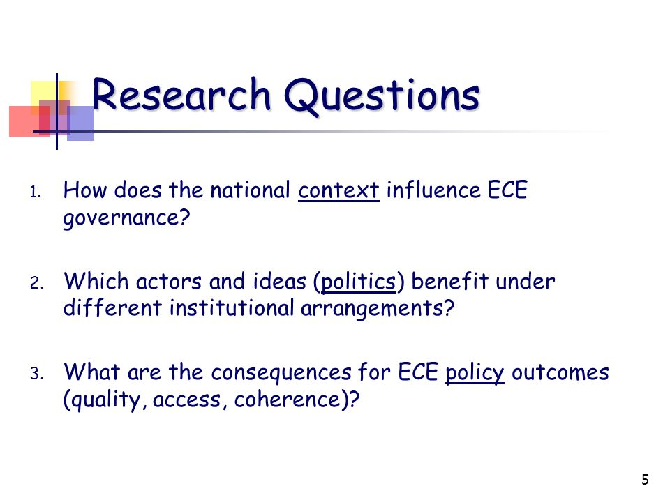 5 Research Questions 1. How does the national context influence ECE governance.