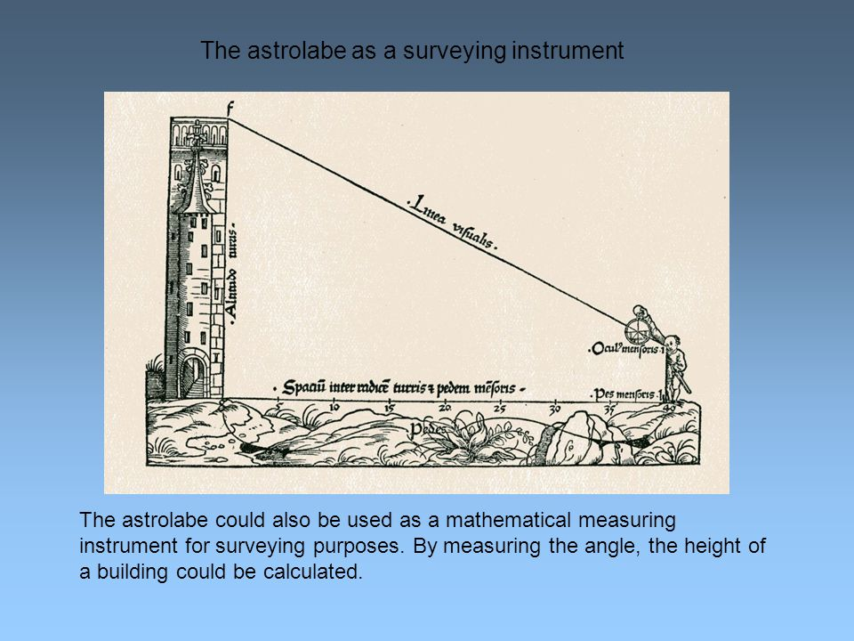 The astrolabe as a surveying instrument The astrolabe could also be used as a mathematical measuring instrument for surveying purposes.