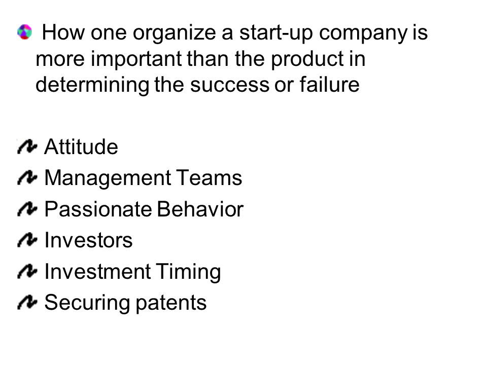 How one organize a start-up company is more important than the product in determining the success or failure Attitude Management Teams Passionate Behavior Investors Investment Timing Securing patents