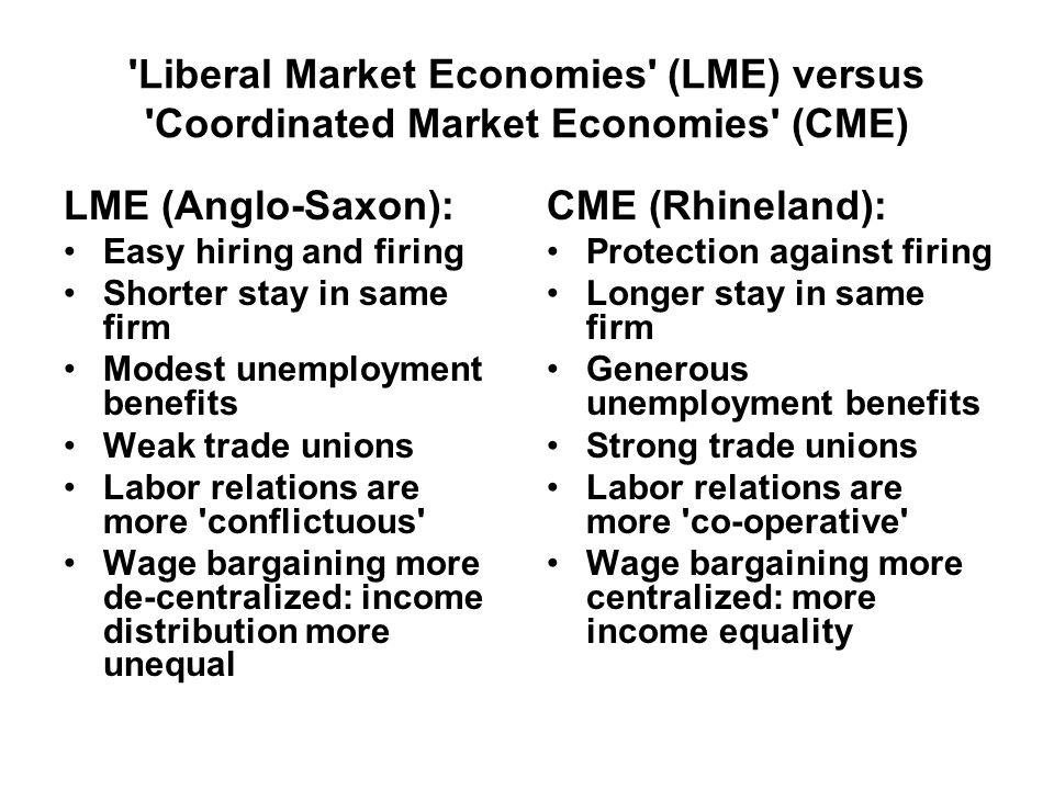 Liberal Market Economies (LME) versus Coordinated Market Economies (CME) LME (Anglo-Saxon): Easy hiring and firing Shorter stay in same firm Modest unemployment benefits Weak trade unions Labor relations are more conflictuous Wage bargaining more de-centralized: income distribution more unequal CME (Rhineland): Protection against firing Longer stay in same firm Generous unemployment benefits Strong trade unions Labor relations are more co-operative Wage bargaining more centralized: more income equality